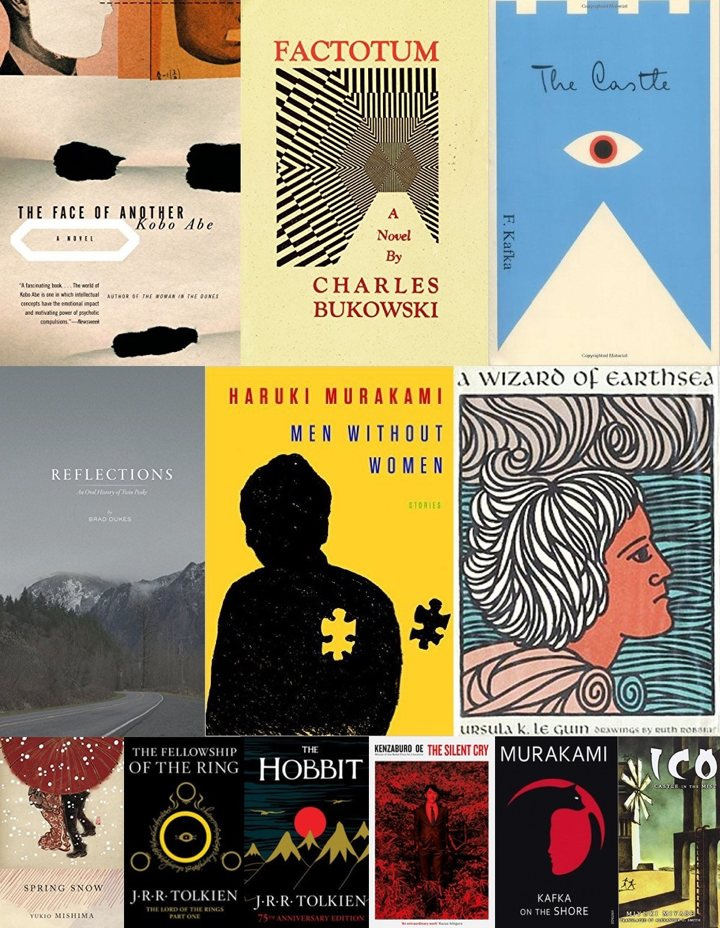 Collage of book covers pt 2 (The Face of Another, Factotum, The Castle, Reflections, Men Without Women, A Wizard of Earthsea, Spring Snow, The Fellowship of the Ring, The Hobbit, The Silent Cry, Kafka on the Shore, Ico)