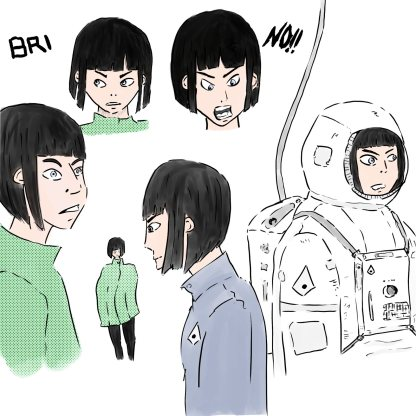 Illustrations of Bri, a female character from Lunar Space Colony