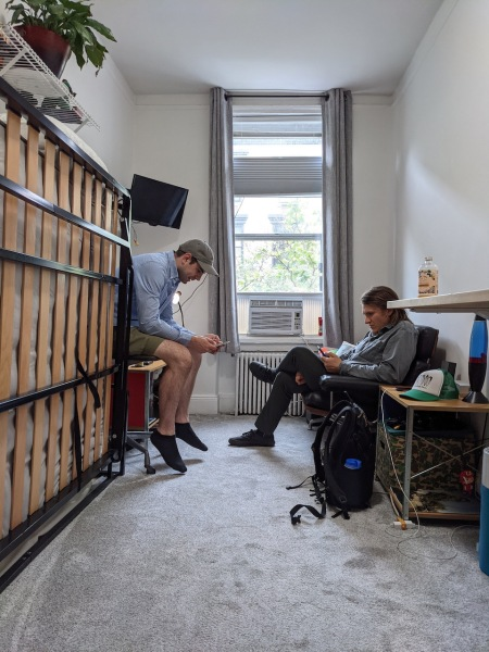Photo of Brett and Dan in his NYC apartment